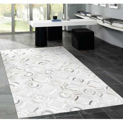Hand-Loomed Silver Area Rug Rug Size: Rectangle 8 x 10