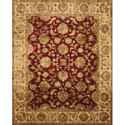Agra Hand-Knotted Red Area Rug