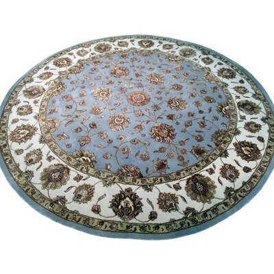 Agra Hand-Knotted Green Area Rug