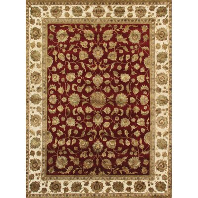 Agra Hand-Knotted Area Rug Rug Size: 91 x 121