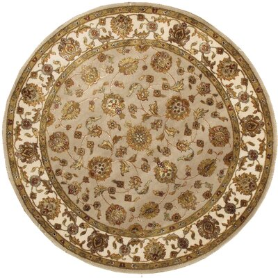 Agra Hand-Knotted Area Rug Rug Size: Round 51