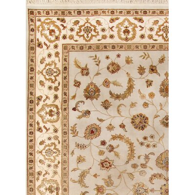 Agra Hand-Knotted Ivory Area Rug