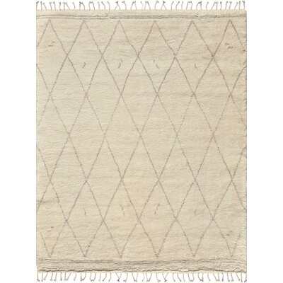 Moroccan Hand-Knotted Silk/Wool Area Rug Rug Size: 89 x 119