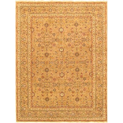 Tabriz Hand-Knotted Camel Area Rug Rug Size: Rectangle 95 x 125