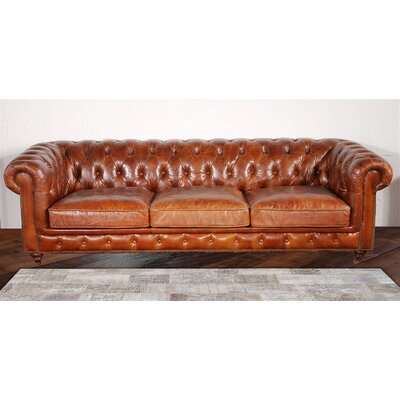 Chester Bay Tufted Genuine Leather Sofa