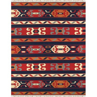 Anatolian Hand-Woven Cotton Blue/Red/Orange Area Rug Rug Size: Rectangle 9 x 12