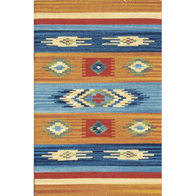 Anatolian Hand-Woven Cotton Blue/Orange Area Rug Rug Size: Rectangle 5 x 8