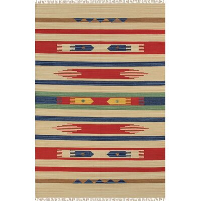 Anatolian Hand-Woven Cotton Blue/Red/Beige Area Rug Rug Size: Rectangle 4 x 6