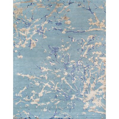 Modern Hand-Knotted Blue Area Rug Rug Size: 10 x 14
