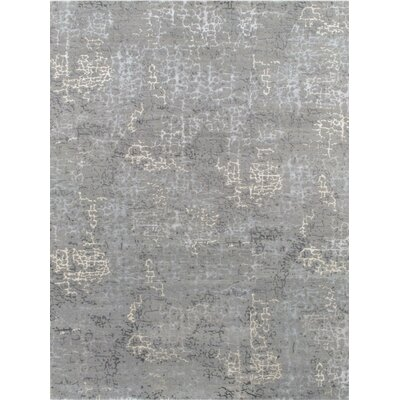 Modern Hand-Knotted Gray Area Rug Rug Size: 101 x 141