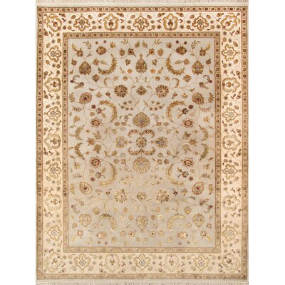 Agra Hand-Knotted Light Blue/Brown Area Rug