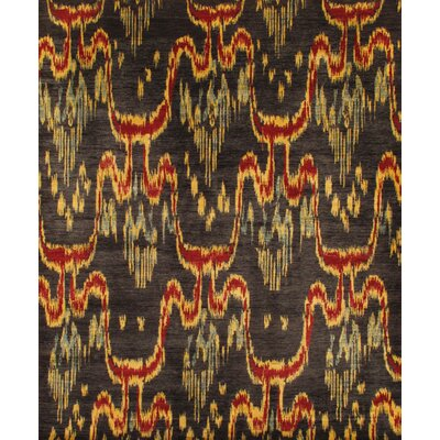 Ikat Hand-Knotted Black Area Rug Rug Size: 9 x 12