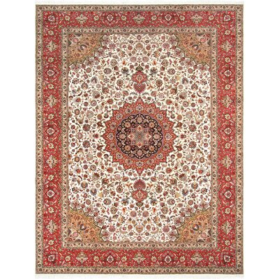Pasargad Tabriz Collection Hand-Knotted Silk & Wool Area Rug- 9 11 X 13 0