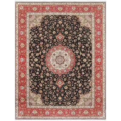 Pasargad Tabriz Collection Hand-Knotted Silk & Wool Area Rug- 9 10 X 13 6