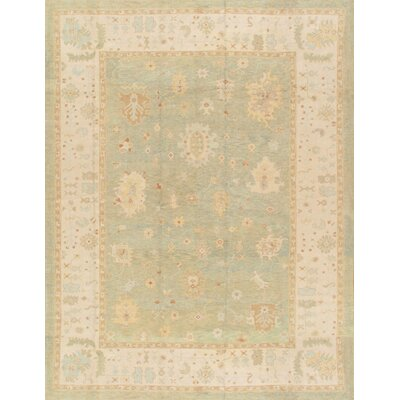 Oushak Hand-Knotted Light Green Area Rug