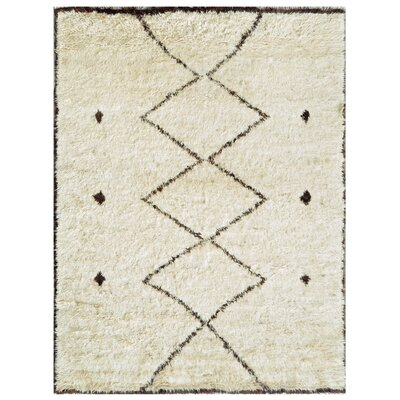 Moroccan Hand-Knotted Ivory Area Rug Rug Size: 8 x 911