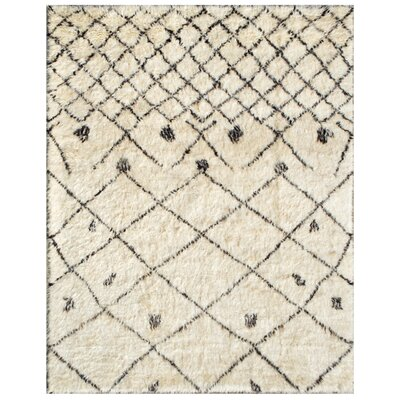 Moroccan Hand-Knotted Ivory Area Rug Rug Size: Rectangle 6 x 92