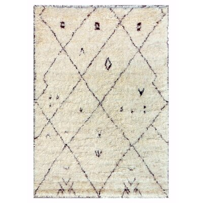 Moroccan Hand-Knotted Ivory Area Rug Rug Size: 6 x 9