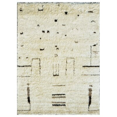 Moroccan Lambs Wool Hand-Knotted Beige Area Rug Rug Size: 97 x 137