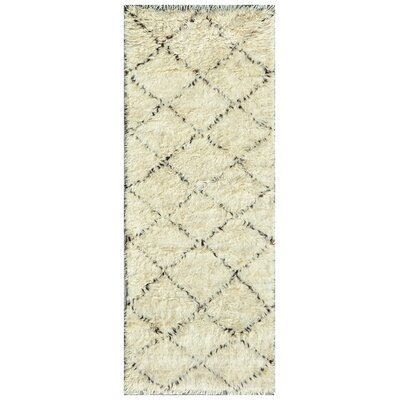 Moroccan Hand-Knotted Ivory Area Rug Rug Size: Runner 27 x 66