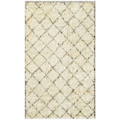Moroccan Hand-Knotted Ivory Area Rug Rug Size: 5' x 8'3