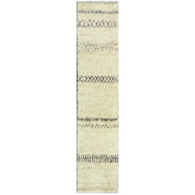 Moroccan Hand-Knotted Ivory Area Rug Rug Size: Runner 26 x 105