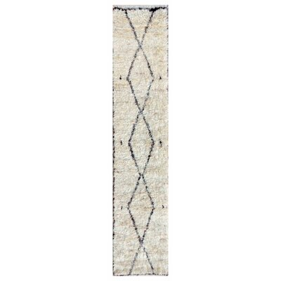 Moroccan Hand-Knotted Ivory Area Rug Rug Size: Runner 26 x 144