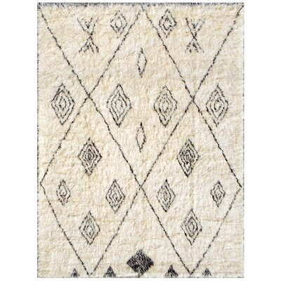 Moroccan Hand-Knotted Ivory Area Rug Rug Size: Rectangle 511 x 810