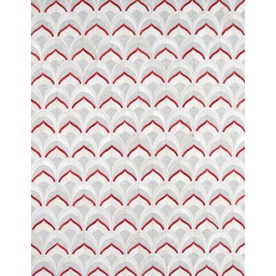 Hand-Loomed Grey / Rust Area Rug Rug Size: 5 x 8