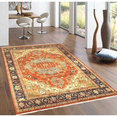 Serapi Hand-Knotted Rust Area Rug Rug Size: Rectangle 12 x 9