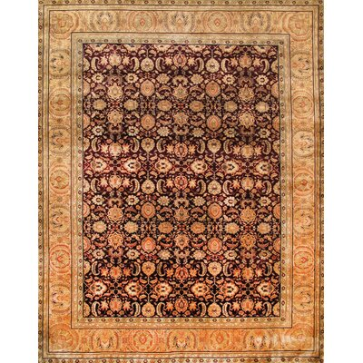 Agra Hand-Knotted Burgundy Area Rug