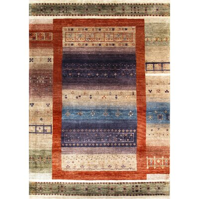 Gabbeh Hand-Knotted Tan/Purple Area Rug