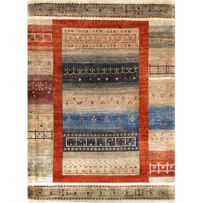 Gabbeh Hand-knotted Orange/Tan Area Rug