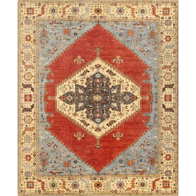 Serapi Hand-Knotted Rust Area Rug Rug Size: 122 x 152