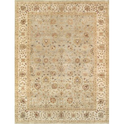 Tabriz Hand-Knotted Sage Green Area Rug