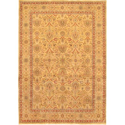 Tabriz Hand-Knotted Camel Area Rug Rug Size: Rectangle 9 x 12