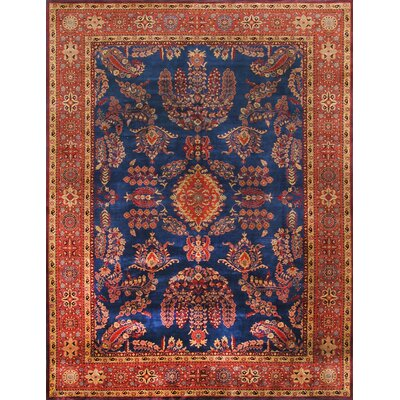 Sarouk Hand-Knotted Blue Area Rug