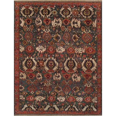 Kazak Hand-Knotted Green Area Rug