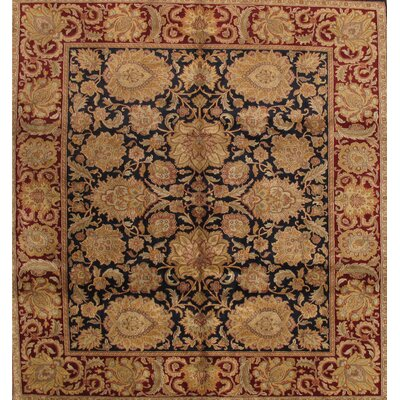 Agra Hand-Knotted Black/Red Area Rug