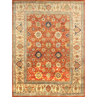 Mahal Hand-Knotted Rust/Ivory Area Rug