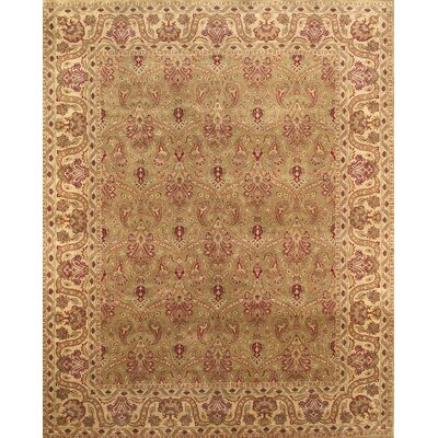 Tabriz Hand-Knotted Ligth Green Area Rug