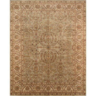Tabriz Hand-Knotted Green/Ivory Area Rug