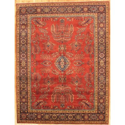 Sarouk Hand-Knotted Rust Area Rug Rug Size: Rectangle 4 x 6