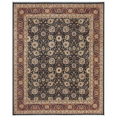 Tabriz Hand-Knotted Black Area Rug