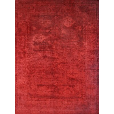 Overdye Hand-Knotted Red Area Rug