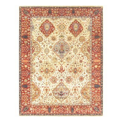 Kerman Hand-Knotted Ivory/Rust Area Rug Rug Size: Rectangle 8 x 10