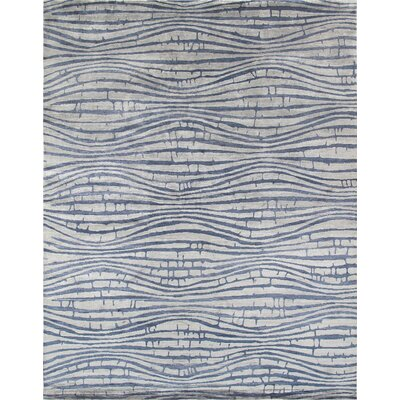 Modern Hand-Knotted Beige/Blue Area Rug