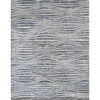 Modern Hand-Knotted Blue/Ivory Area Rug
