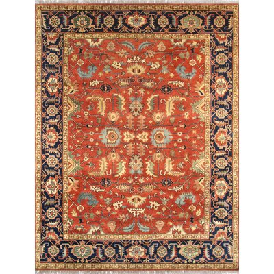 Serapi Hand-Knotted Wool Rust/Navy Area Rug Rug Size: Rectangle 6 x 9