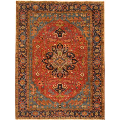 Serapi Hand-Knotted Rust/Navy Area Rug Rug Size: 711 x 911